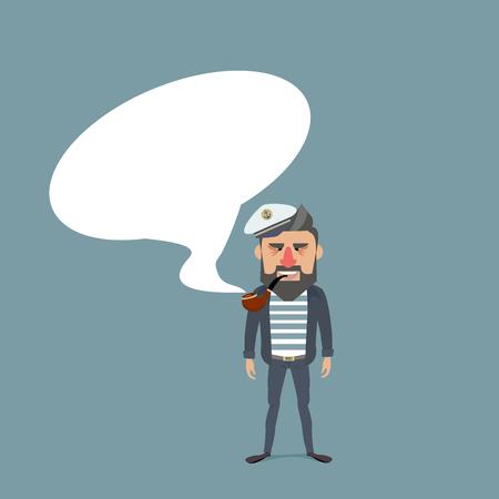 Sailor with bubble speech. Illustration
