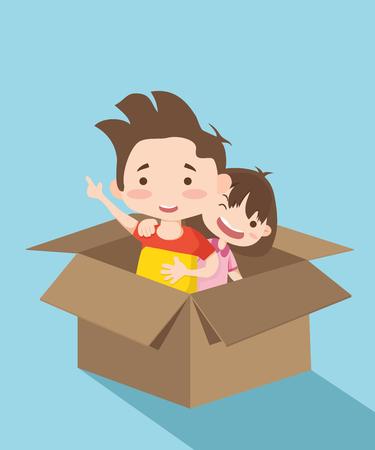 Couple in box illustration.