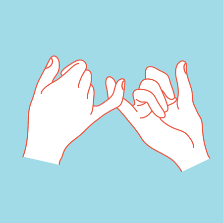 Pinky swear with orange outline icon