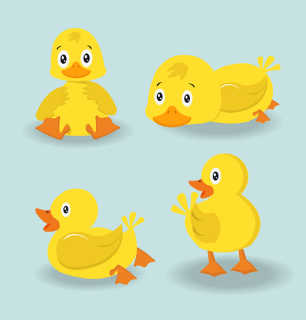 Cute character duck set