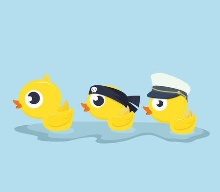 Cute Ducks swimming vector Illustration