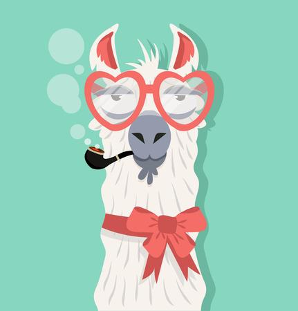 Alpaca with Tobacco Pipe Illustration
