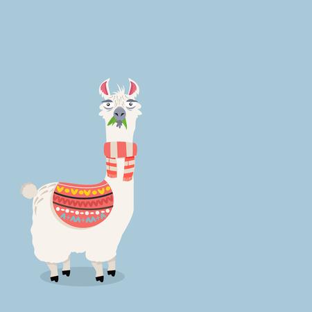Cute lama alpaca Vector Illustration