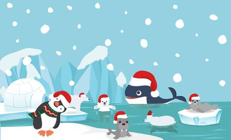 North pole animal background with santa hat 일러스트