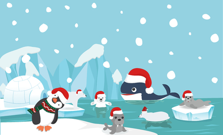 North pole animal background with santa hat Stock Illustratie