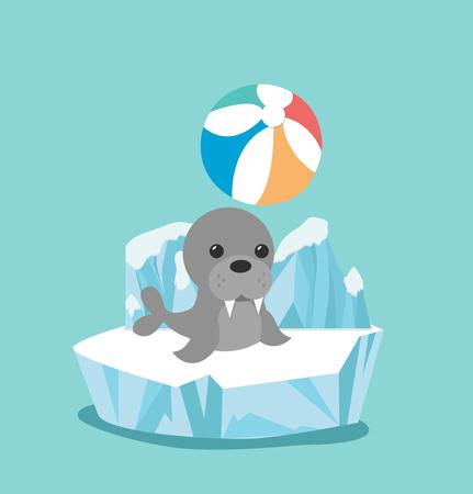 sea lion on ice floe vector illustration.