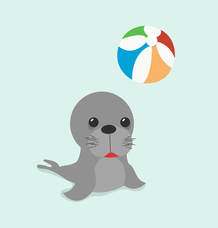 sea lion with ball Vector illustration.