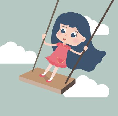 Cute Girl playing in a swing