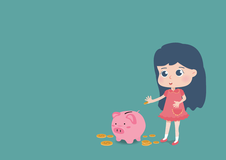 Cute girl putting coin a Piggy bank money savings concept of growth