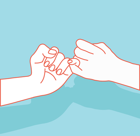 Hand holding, promise sign with orange lines illustration.