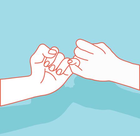 Explotación de la mano, signo de promesa con ilustración de líneas naranjas.