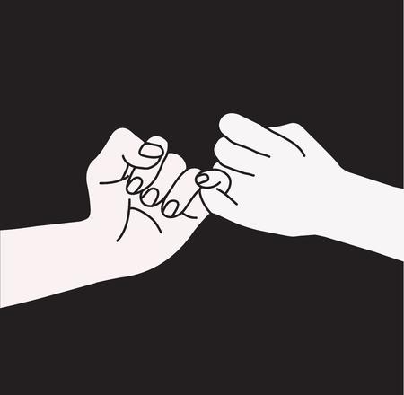 Hand holding, promise sign on black background.