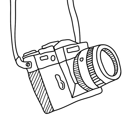 hand drawn Vector illustration of camera