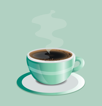 Hot coffee on green cup. Vectores