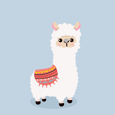 Cute alpaca fluffy eat grass in cartoon illustration. Illustration