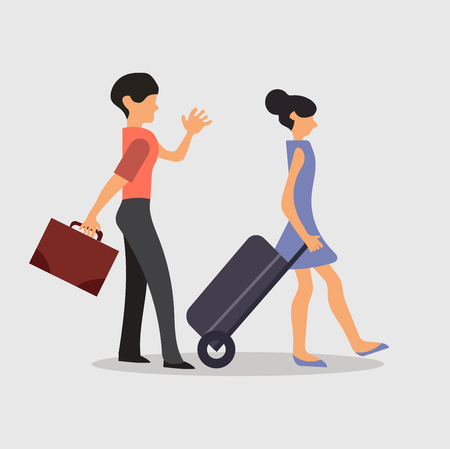 Background of pretty couple traveling Illustration