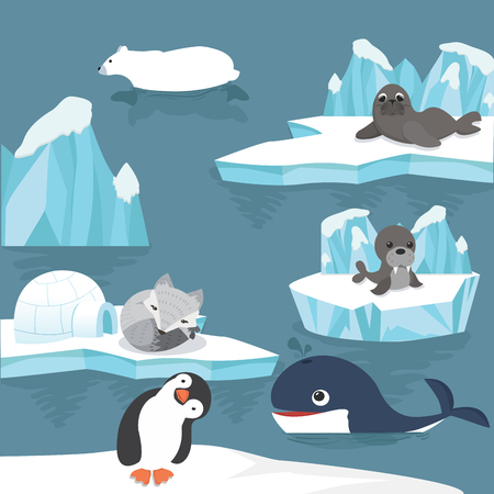 arctic animals cartoon background Vectores