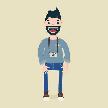 Hipster men with his camera