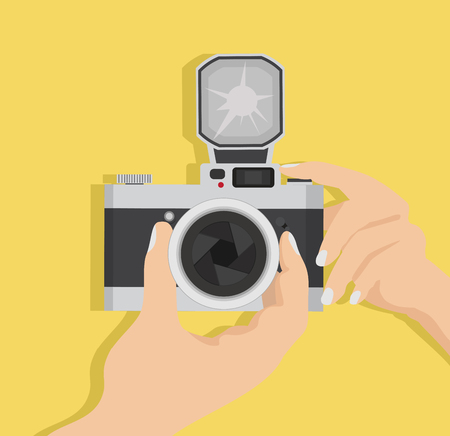Hand Holding Taking with a Digital Camera Illustration