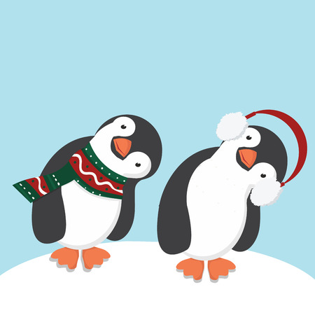 Cute Penguins in scarf and ear muffs Vector illustration. Illustration