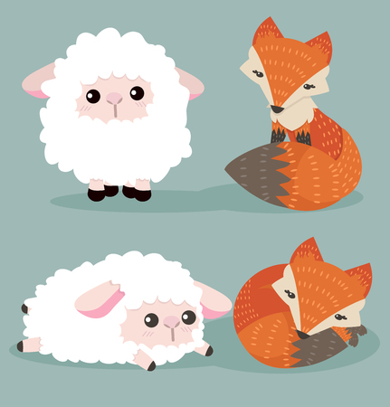 Wolf And Sheep Couple 矢量图像