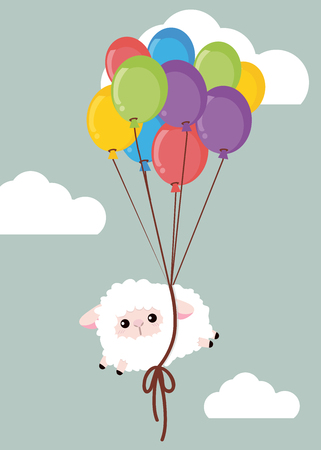 White sheep on sky with balloon Çizim