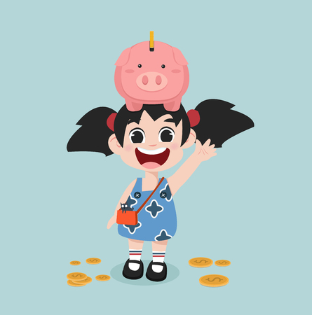 cute little girl with Piggy bank money savings concept of growth