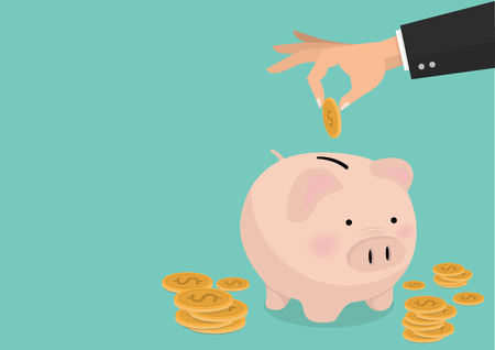 flat illustration Hand putting coin a Piggy bank money savings concept of growth