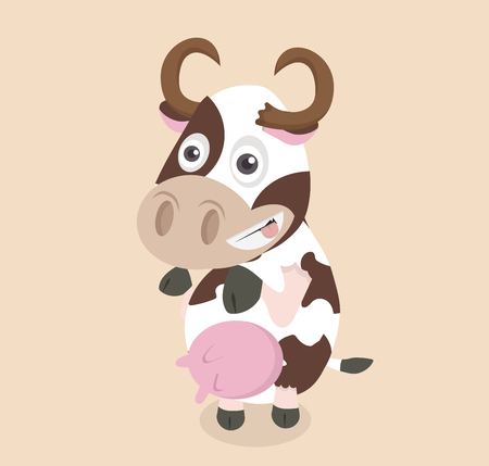 Funny cartoon cow design vector  イラスト・ベクター素材