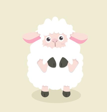 Funny cartoon little sheep illustration 矢量图像