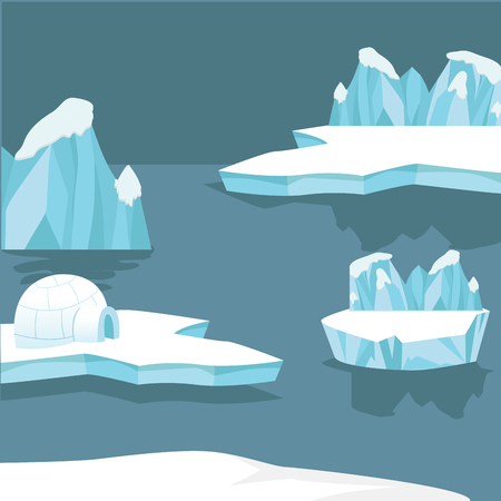 Arctic landscape iceberg and mountains background Illustration