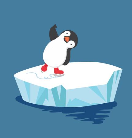 pinguïn doet schaatsen op ijsschots