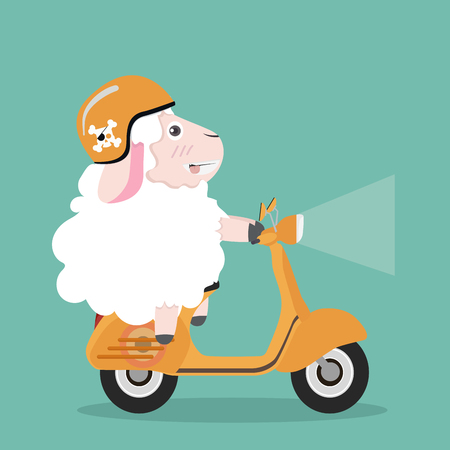 Cute sheep in helmet riding a yellow scooter illustration.