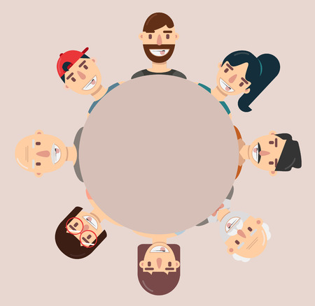Flat avatar people face collection Teamwork concept Illustration