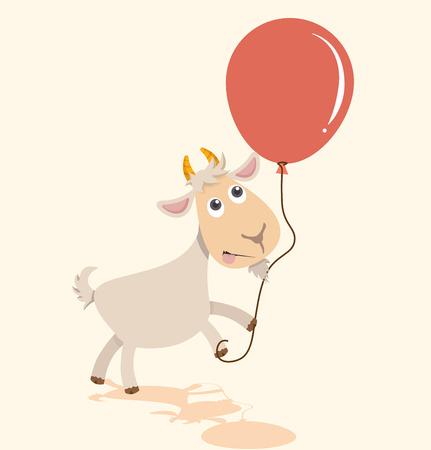 Cute cartoon goat holding balloon