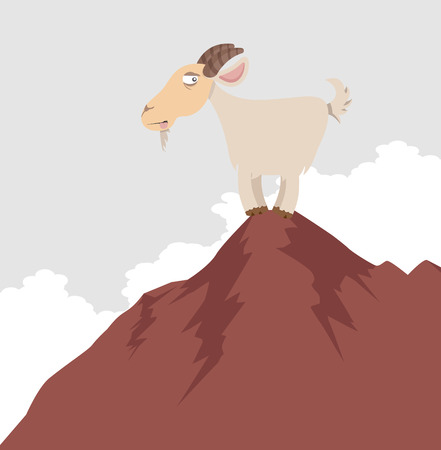 Cute cartoon goat  on the top of a mountain