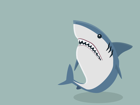Cute White shark vector isolated on blue background