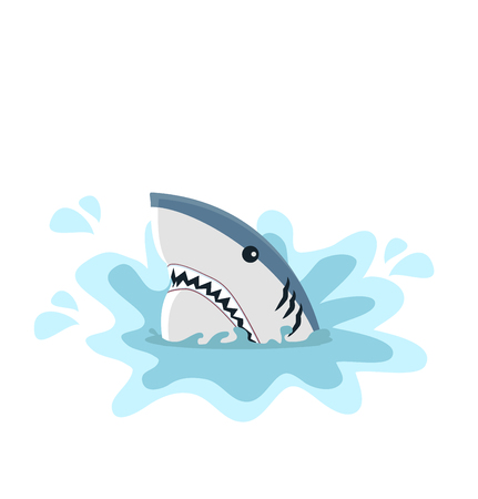 White shark with open jaws isolated on plain background