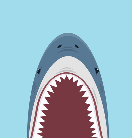 Shark open mouth vector isolated on blue background