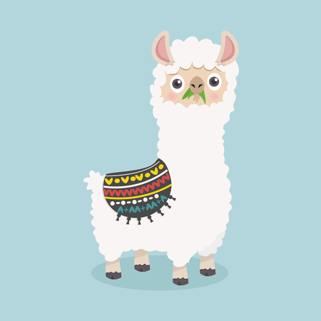 Cute funny alpaca fluffy eat grass illustration. 일러스트