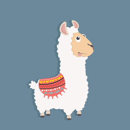 Cute funny alpaca fluffy vector illustration. Stock Illustratie