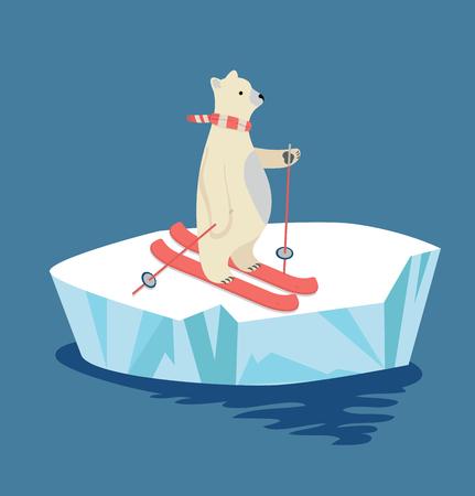 Polar Bear skiing on ice floe Vector illustration.