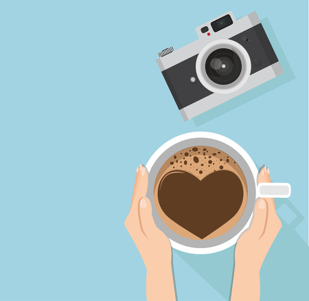 Hand holding coffee cup with Flat vintage camera Vector illustration.