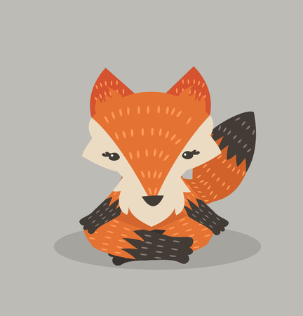 Cute orange  fox meditating Illustration