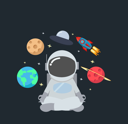 Astronaut meditating  in space background Illustration