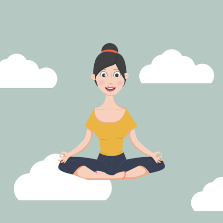 Woman meditating in flat design