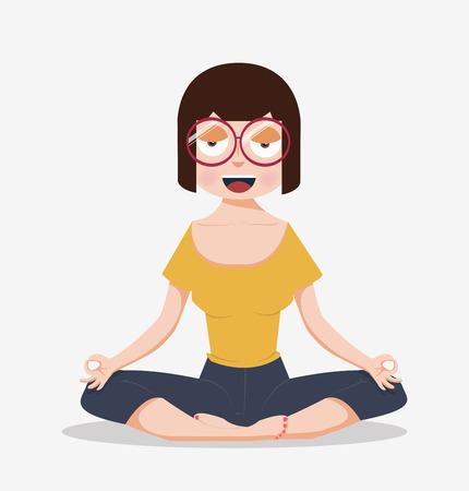 Cartoon flat woman meditating yoga