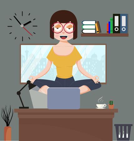 Woman meditating in office room Illustration
