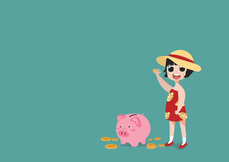little girl putting coin a Piggy bank money savings concept