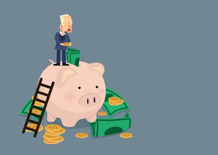 businessman putting money on a Piggy bank money savings concept of growth